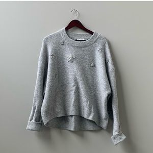 H&M Grey Embellished Star Sweater Crew Neck